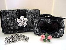 """Brighton """"CHLOE"""" Black Tweed Fabric/Patent Clutch/Coin Purse Set (MSR$190) NWT"""