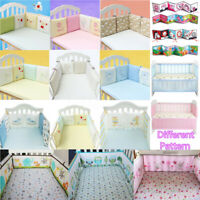 4/6Pcs Baby Infant Cotton Crib Bumper Nursery Bedding Cot Pillow Pad