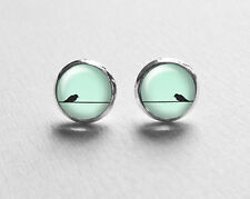 Bird Earrings, Mint Green Earrings, Tiny Stud Earrings, Stud Earings, Birds