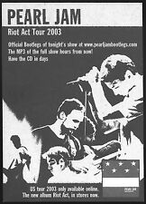 Pearl Jam Riot Act Tour 2003 concert card stock handbill 5 x 7 double sided