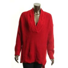 LAUREN RALPH LAUREN NEW Womens Red Cable Knit V Neck Sweater Top L $100 TEDO