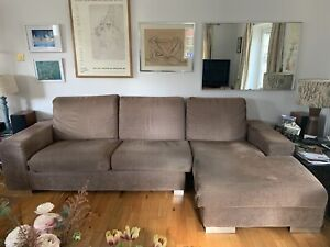 Modern Settee L Shape 3-4 People Light Brown