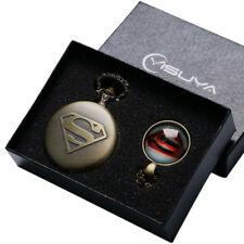 Vintage Bronze Superman S Carving Dial Men Women Quartz Pocket Watch Gift Set