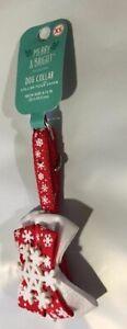 "TOP PAW XMAS DOUBLE BOW SNOWFLAKE COLLAR X-SMALL DOG CHRISTMAS HOLIDAY 8-12"""