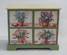 FLORAL DECOR 4 DRAWER WOOD ACCENT CABINET CHEST GARDEN GREEN SHABBY CHIC