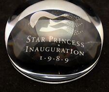 Princess Cruise Line Star Princess 1989 Inauguration Glass Paper Weight Ship