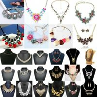 Fashion Charm Jewelry Pendant Crystal Choker Chunky Statement Chain Bib Necklace