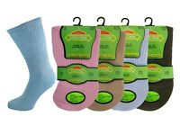3 Ladies Diabetic EXTRA-WIDE Cotton Rich Wider Top Socks UK 4-8