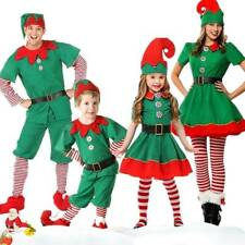 Kid Adult Christmas Elf Fancy Dress Family Xmas Party Cosplay Perform Costume AU