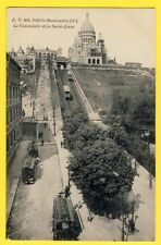 cpa France PARIS MONTMARTRE FUNICULAIRE GARE Cable Railway Omnibus Hippomobile