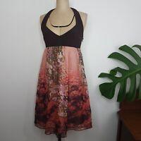 Leona Edmiston Frocks Dress SZ 1 Pink Brown Floral Silk Halter Neck Lined Retro