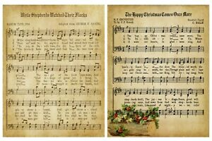 CHRISTMAS CAROLS/MUSIC BACKING PAPERS - 4/12 x A4 Sheets- 160gsm - CARD MAKING