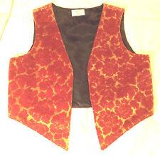 HANDMADE UNISEX VELVET EDGE-T0-EDGE WESKIT (waistcoat) Crimson & Gold  40ins
