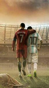 Cristiano Ronaldo Lionel Messi Barcelona Football Print Poster Wall Picture A4+