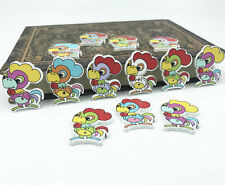 25X Cartoon rooster Wooden chickens Buttons sewing scrapbooking decoration 29mm