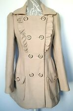 Ladies Double Breasted Jacket UK 8 Beige Military Half Belted Frills Fitted