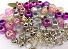 75 Rose Mix- Pink Glitter, Lilac AB Glass,Metallic & alloy Spacers*large hole *