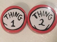 38mm Button Badge - Pair Of THING 1 THING 2 Dr Seuss Cat In The Hat
