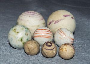 Antique Marbles Glazed & Unglazed China Fancy Bennington Peewee to 1.04 inches