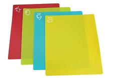 Set of 4 Flexible Chopping Boards Flexible Cutting Sheet Mats Colour Coded