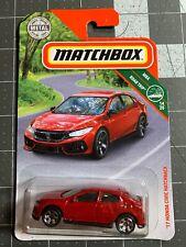 2018 Matchbox '17 Honda Civic Hatchback Red Mbx Road Trip Diecast Car Jdm