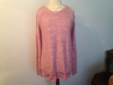 NEW JESSICA SIMPSON Pink Sequin Womens Cold Shoulder Long Sleeve Sweater Size M