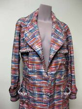 Chanel Pink Blue Orange Tweed Trims Double Breasted Jacket Trench Coat 38 14P