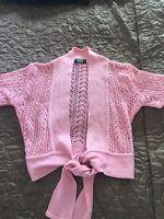 Ladies Cropped Pink Cardigan, Size 10