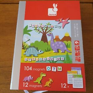 Janod Stegosaurus Letter Magnets And Dinasours. Educational Toy. VGC