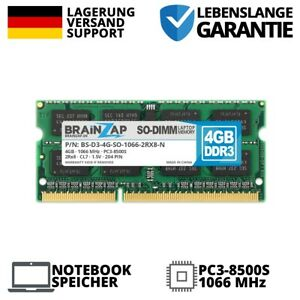 4GB DDR3 RAM SO-DIMM PC3-8500S 2Rx8 1066 MHz 1.5V Notebook Laptop Speicher CL7
