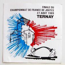 Autocollant Championnat France Joutes - Ternay -  Sticker collector Année 80/90