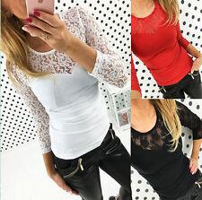 Damen Spitze Bodycon Sommer Party Slim T-Shirt Oberteil Blusen Tops Langarmshirt
