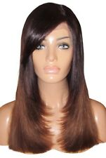 "Human Hair Blend Wig Front Lace 16"" Medium Long Dark Brown 2 4 Ombre Fringe 250%"