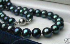 GENUINE 8-9MM BLACK NATURAL TAHITIAN PEARL NECKLACE 18''