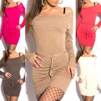 Pullover donna maximaglia strass e borchie miniabito maglione con cintura NUOVO