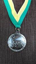 silver Music medal award yellow/green neck ribbon