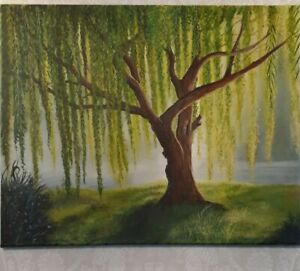 Original acrylic painting on canvas  20 X16  inches.The Weeping Willow Tree.