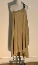 Alexander McQueen Leather Buckle Acccent One Shoulder Tan Draped Knit Dress S