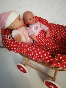 DDR Korbkinderwagen mit 2 Puppen
