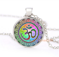 OM mandala Cabochon Glass Silver Plating Necklace For men woman Jewelry#E5E