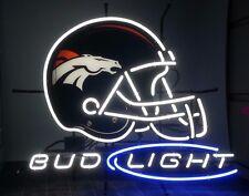 """New Bud Light Denver Broncos Beer Neon Sign 20""""x16"""""""