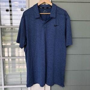 Nike Golf Men's Dri-Fit Polo Short Sleeve Shirt Striped Size XL Blue