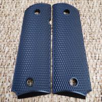 Custom COLT 1911  FULL SIZE Metal Grips Black DOUBLE DIAMOND CHECKERED GRIPS