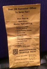 Manufacturers Hanover Trust Co paper money bag
