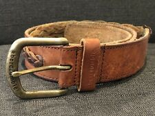 Abercrombie Guys L/XL Dark Brown Leather Braided Accent Distressed Belt