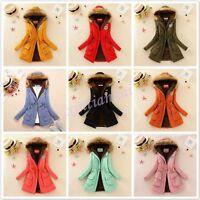 12 Color Womens Lady Coat Jacket Thicken Fur Hooded Parka Winter Warm Fleece Hot