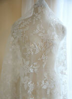 "White 55"" Sequined Lace Fabric Floral Embroidery Corded Lace Fabric 0.5 Meter"