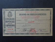 BANCONOTA BUONO DI PRELEVAMENTO BORGO S. DALMAZZO  19 6 1943 XXI NUM SUBALPINA
