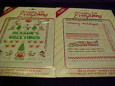 Christmas Rub On Accents Snowman Tree Holly Phrase Heart Presents 2 Sheets
