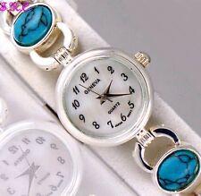 Turquesa Semi Preciosa Piedra Gemas Plata Chapado Deco MOP Rasgo reloj nuevo